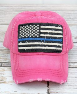 Distressed Hot Pink Thin Blue Line Flag Adjustable Hat