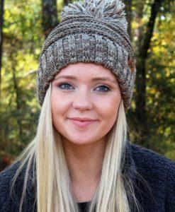Snowball Fight Knit Brown Pom Pom Beanie Hat