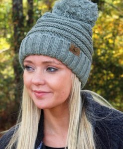 Snowball Fight Knit Light Gray Pom Pom Beanie Hat