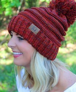 Snowball Fight Knit Orange Mix Pom Pom Beanie Hat
