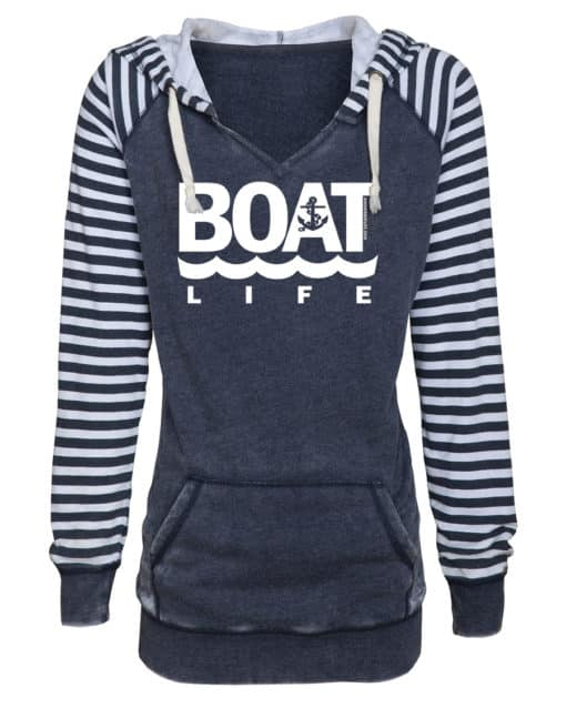 Boat Life Women's Navy Anchor Striped Chalk Fleece Hoodie