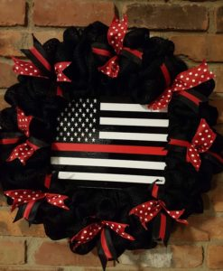 """Thin Red Line Firefighter 16"""" Burlap Wreath"""