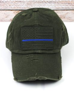 Distressed Olive Green Thin Blue Line Tactical Flag Adjustable Hat