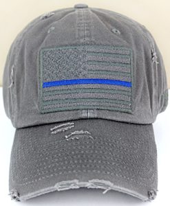 Distressed Dark Gray Thin Blue Line Tactical Flag Adjustable Hat