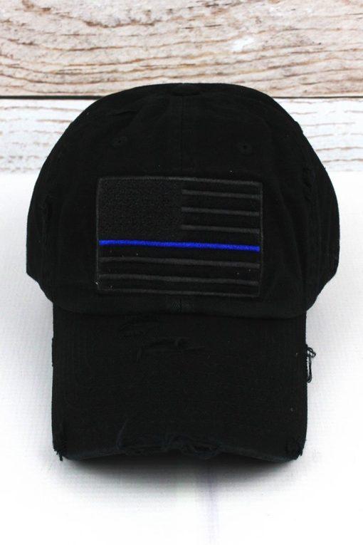 Distressed Black Thin Blue Line Tactical Flag Adjustable Hat
