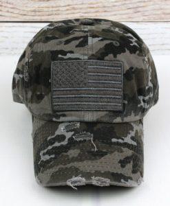 Distressed Black Camo American Flag Adjustable Hat