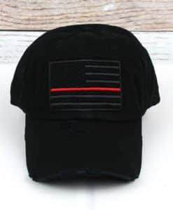 Distressed Black Thin Red Line Tactical Flag Adjustable Hat