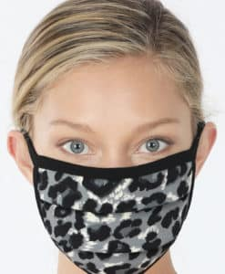 Snow Leopard Two-Layer Pleated Black Fashion Face Mask
