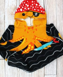 Kid's Octopus Red Orange Hooded Beach Towel