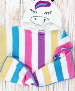 Kid's Unicorn Purple Pink Blue Hooded Beach Towel