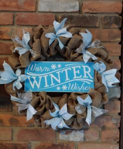 "Warm Winter Wishes 16"" Burlap Christmas Wreath"
