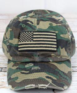 Distressed Green Camo with Black Khaki American Flag Adjustable Hat