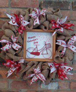 """Happy Valentine's Day Pink Red Bike 16"""" Burlap Wreath"""