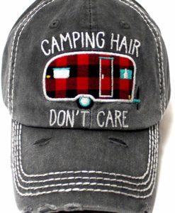 Camping Hair Don't Care Camper Distressed Black Adjustable Hat