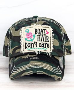 Boat Hair Don't Care Distressed Camo Adjustable Hat