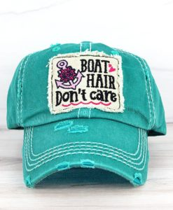 Boat Hair Don't Care Distressed Turquoise Adjustable Hat