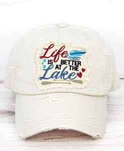 Life Is Better At The Lake Distressed Stone Adjustable Hat